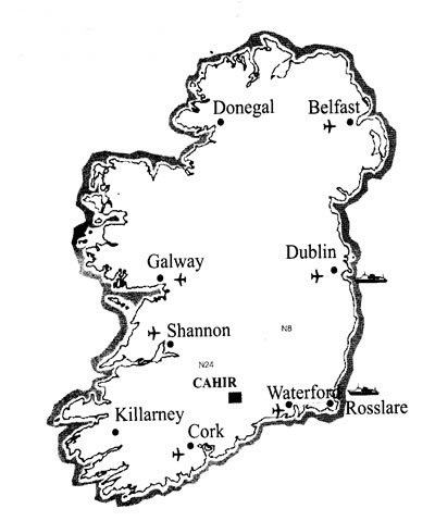 Location map of Cahir